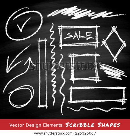 Scribble shapes hand drawn in chalk on chalkboard background , vector design elements - stock vector