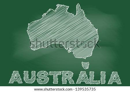scribble sketch of australia  map on blackboard - stock vector