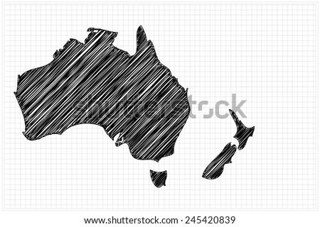 scribble sketch of Australia map on grid,Vector illustration. - stock vector