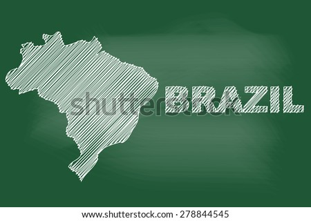 scribble sketch of Brazil map on blackboard,Vector illustration. - stock vector