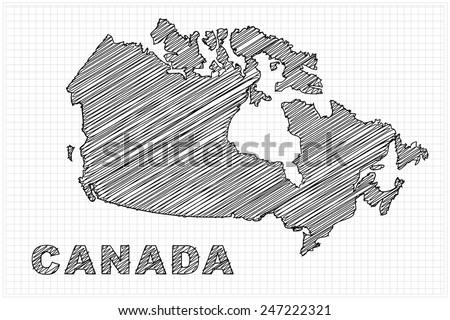 scribble sketch of Canada on grid,Vector illustration. - stock vector