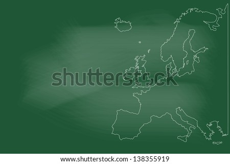 scribble sketch of Europe map on blackboard - stock vector