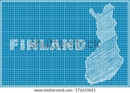 scribble sketch of Finland map on blueprint - stock vector