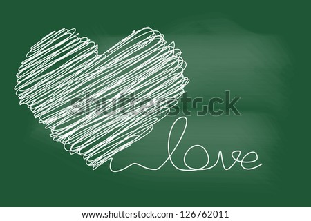 scribble sketch of heart and love text on blackboard - stock vector