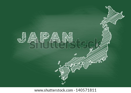 scribble sketch of Japan on blackboard - stock vector