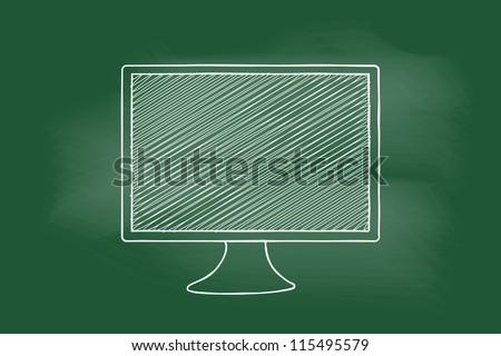 scribble sketch of   monitor computer on blackboard - stock vector