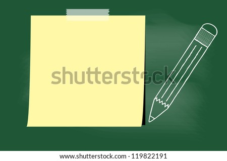 scribble sketch of pencil and paper on blackboard - stock vector