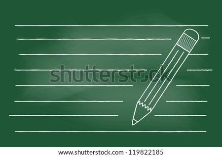 scribble sketch of pencil on blackboard - stock vector