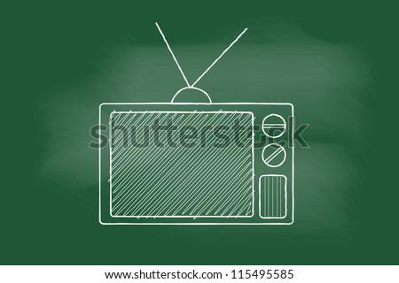 scribble sketch of Retro TV on blackboard - stock vector