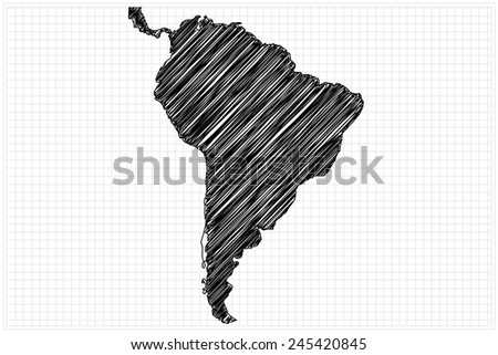 scribble sketch of South America map on grid,Vector illustration.