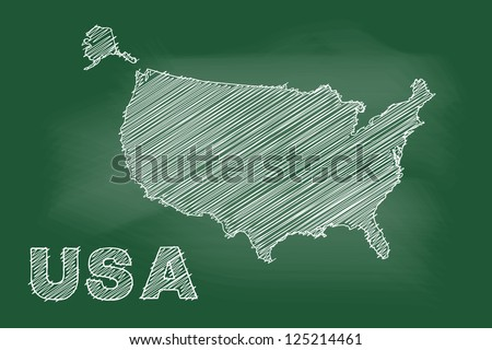 scribble sketch of USA map on blackboard - stock vector