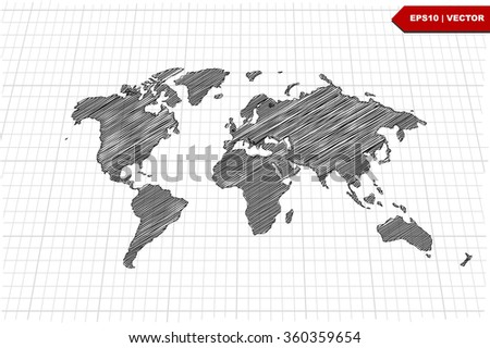 Scribble sketch world map on grid vector stock vector 2018 scribble sketch of world map on gridvector illustration gumiabroncs Gallery