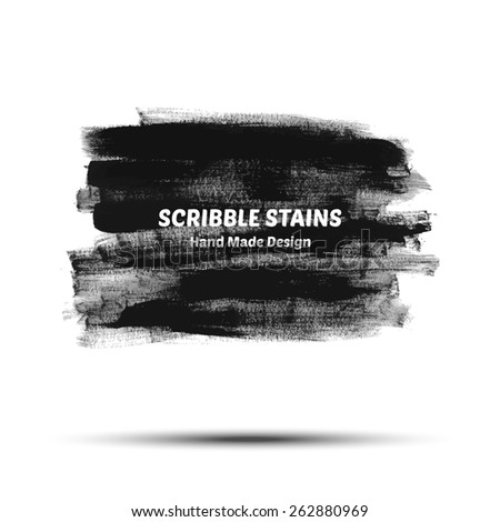 Scribble stains hand drawn in brush. Vector logo elements - stock vector