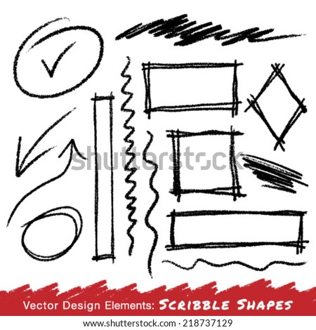 Scribble Stains Hand drawn in pencil , vector logo design element - stock vector