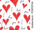 Scribble, stroke, red vector sketch heart background, seamless pencil illustration. Cute love pattern, Valentine Day - stock vector