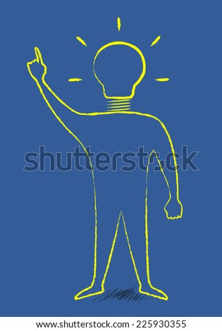 Scribble style man with light bulb instead of head in moment of insight, EPS 10 vector illustration - stock vector