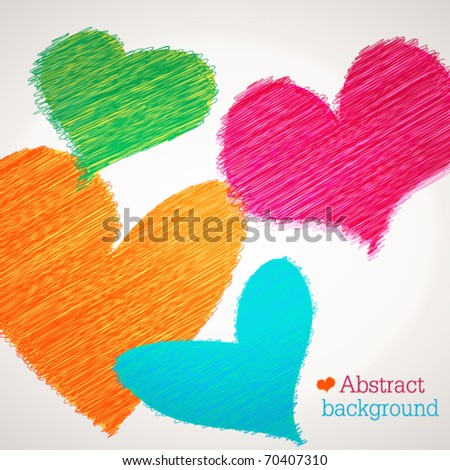 Scribble vector hearts - stock vector