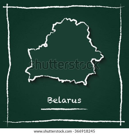 Scribble vector map of Belarus hand drawn with chalk on a green blackboard. Chalkboard map drawing in childish style. White chalk texture on green background. - stock vector