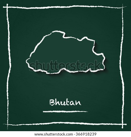Scribble vector map of Bhutan hand drawn with chalk on a green blackboard. Chalkboard map drawing in childish style. White chalk texture on green background. - stock vector
