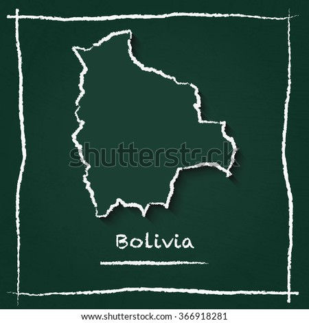 Scribble vector map of Bolivia hand drawn with chalk on a green blackboard. Chalkboard map drawing in childish style. White chalk texture on green background. - stock vector