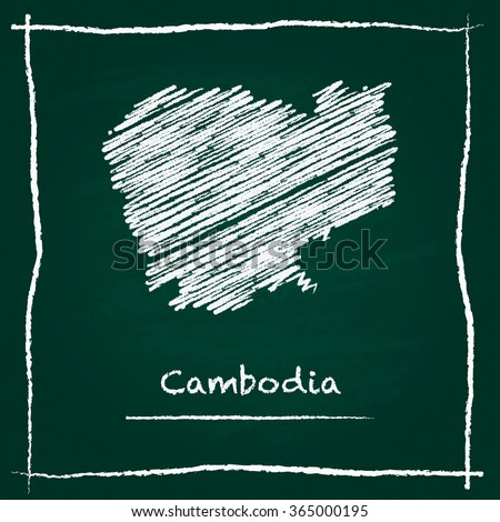 Scribble vector map of Cambodia hand drawn with chalk on a green blackboard. Chalkboard map drawing in childish style. White chalk texture on green background. - stock vector