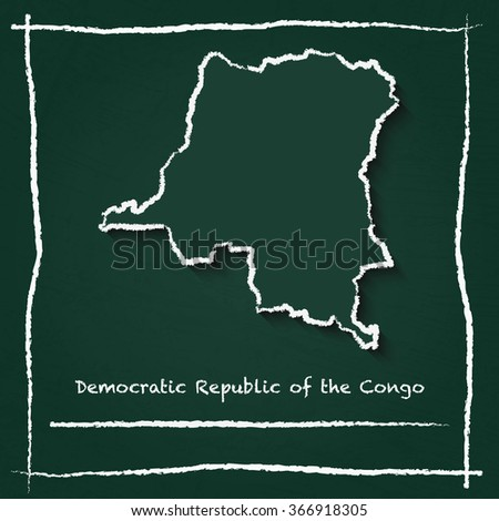 Scribble vector map of Democratic Republic of the Congo hand drawn with chalk on a green blackboard. Chalkboard map drawing in childish style. White chalk texture on green background. - stock vector