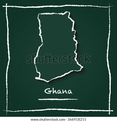 Scribble vector map of Ghana hand drawn with chalk on a green blackboard. Chalkboard map drawing in childish style. White chalk texture on green background. - stock vector