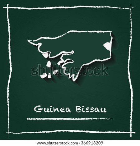 Scribble vector map of Guinea Bissau hand drawn with chalk on a green blackboard. Chalkboard map drawing in childish style. White chalk texture on green background. - stock vector