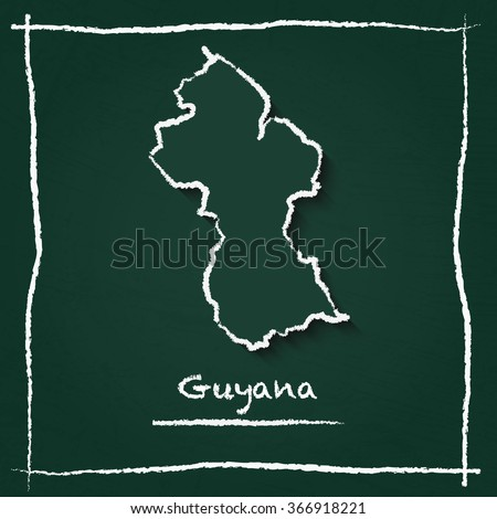Scribble vector map of Guyana hand drawn with chalk on a green blackboard. Chalkboard map drawing in childish style. White chalk texture on green background. - stock vector