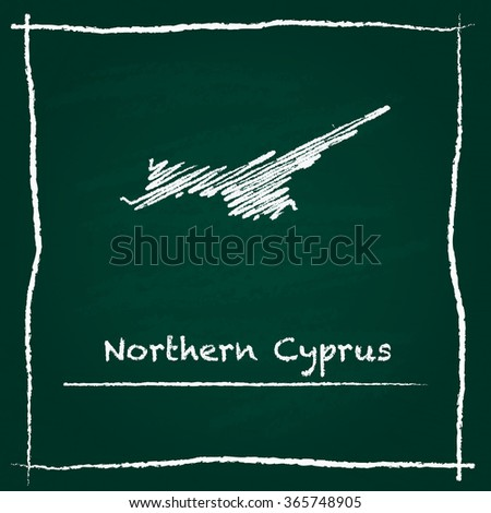 Scribble vector map of Northern Cyprus hand drawn with chalk on a green blackboard. Chalkboard map drawing in childish style. White chalk texture on green background. - stock vector