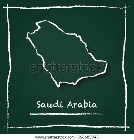 Scribble vector map of Saudi Arabia hand drawn with chalk on a green blackboard. Chalkboard map drawing in childish style. White chalk texture on green background. - stock vector