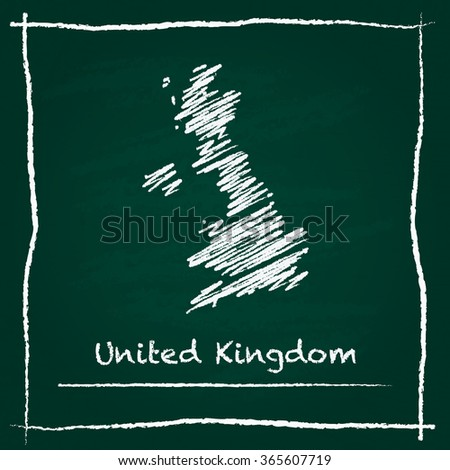 Scribble vector map of United Kingdom hand drawn with chalk on a green blackboard. Chalkboard map drawing in childish style. White chalk texture on green background. - stock vector