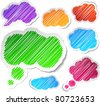 Scribbled collection of speech cloud stickers. Vector EPS8. - stock photo