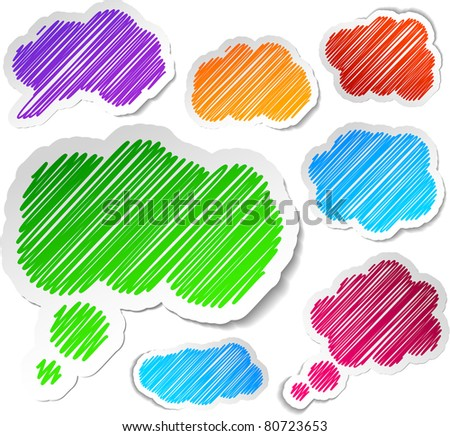 Scribbled collection of speech cloud stickers. Vector EPS8. - stock vector