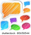 Scribbled collection of speech stickers. Vector EPS8. - stock photo