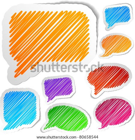 Scribbled collection of speech stickers. Vector EPS8. - stock vector