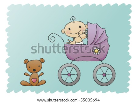 Scribbled, hand-drawn vector illustration of a happy baby in a pram, with a teddy bear in the bottom left corner. - stock vector