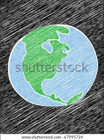 Scribbled illustration of the planet Earth on black.