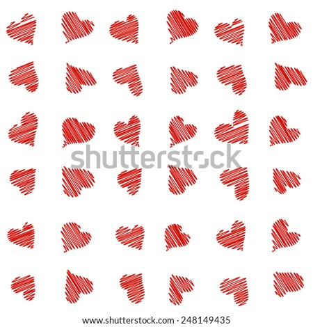 Scribbled red hearts seamless pattern - stock vector