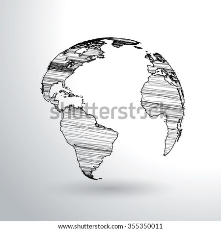 Scribbled world globe vector illustration.