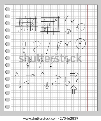 Scribbles in a Notebook. Scribbles in notebook into a cell - tic-tac-toe, punctuation marks, arrows, checkmark.  - stock vector