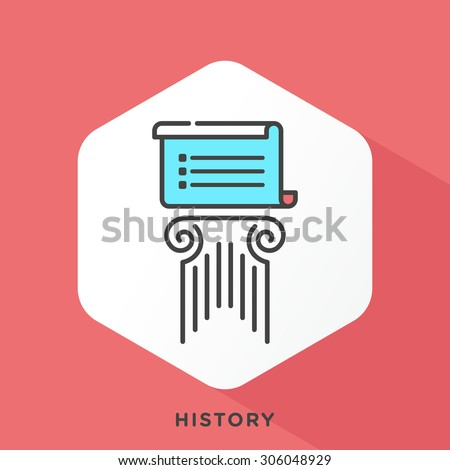 Script and pillar icon with dark grey outline and offset flat colors. Modern style minimalistic vector illustration for teaching history, learning to look back in time. - stock vector