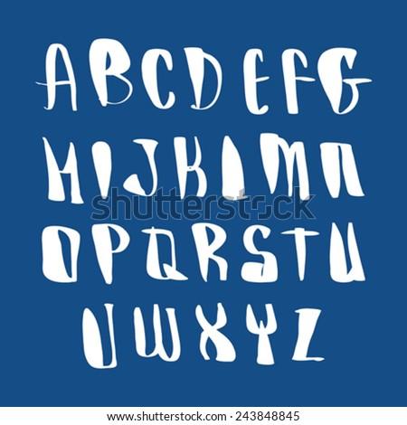 Script font vector, vector alphabet letters. - stock vector