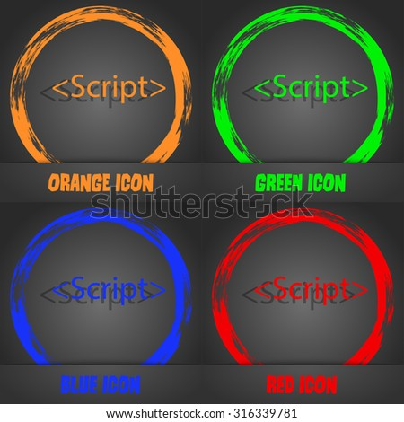 Script sign icon. Javascript code symbol. Fashionable modern style. In the orange, green, blue, red design. Vector illustration - stock vector