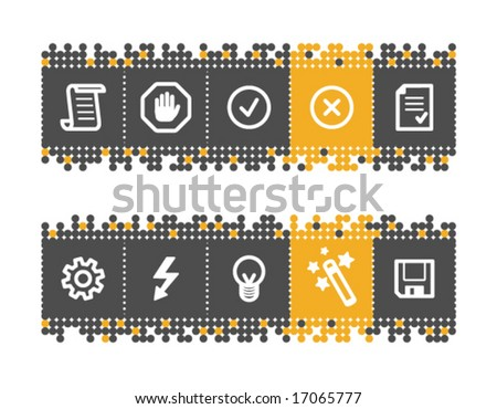 Script web icons on grey and orange dots bar. Vector file has layers, all icons in two versions are included. - stock vector