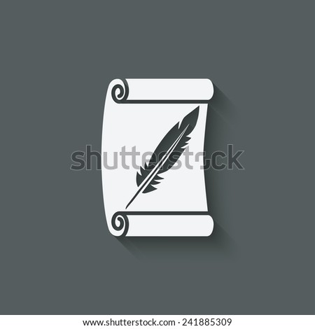 scroll and feather writing symbol - vector illustration. eps 10 - stock vector
