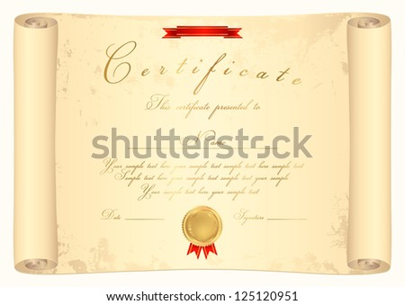 Scroll certificate completion template parchment paper stock vector scroll certificate of completion template parchment paper this design usable for diploma invitation stopboris Image collections