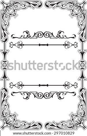 Scroll ornane swirll border is on white - stock vector