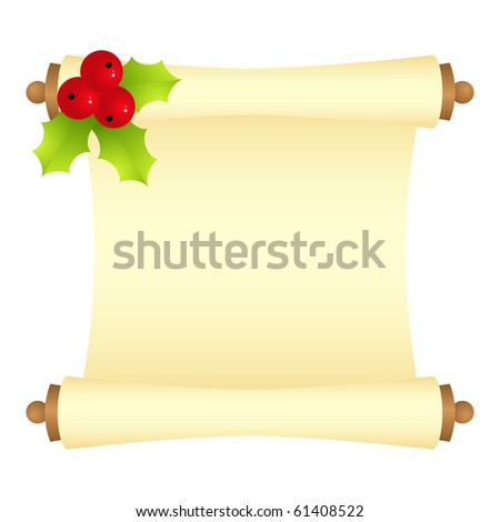 Scroll with Christmas decoration. Vector illustration, isolated on a white - stock vector