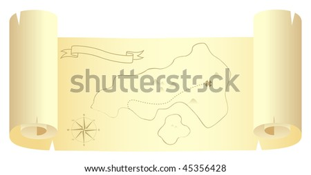 Scroll with treasure island map. Isolated on a white. Vector illustration. - stock vector